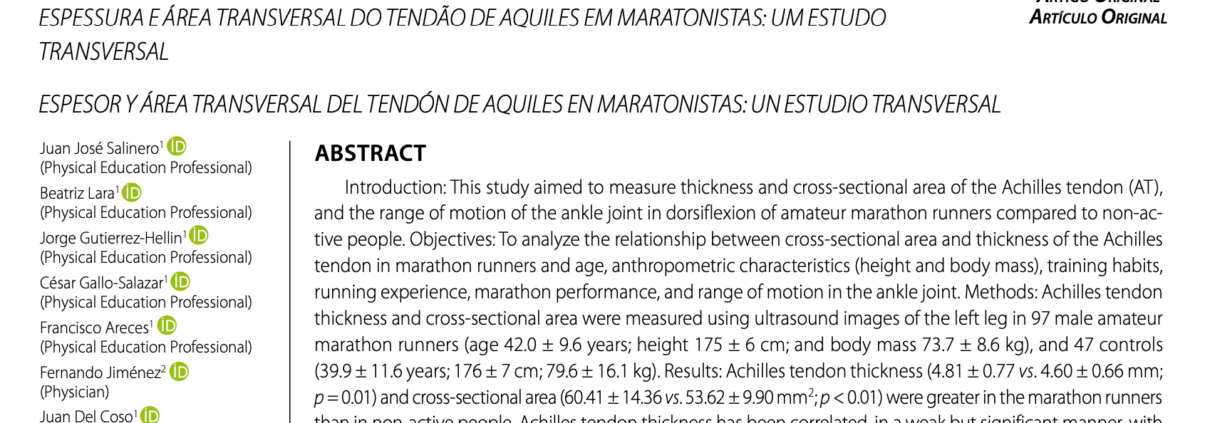 THICKNESS AND CROSS-SECTIONAL AREA OF THE ACHILLES TENDON IN MARATHON RUNNERS: A CROSS-SECTIONAL STUDY